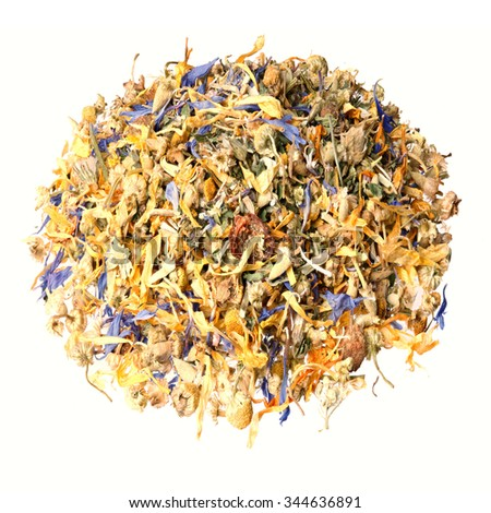 Dried flowers, berries and tea leaves. Mountain herb tea. - stock photo
