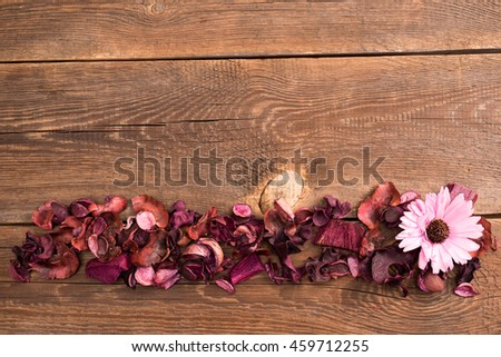 dried flowers on the wooden old table