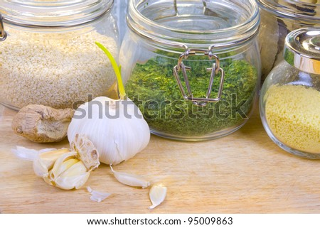 Dried food ingredients in a kitchen for every day cooking needs