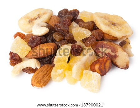 Dried Fruit and Nuts isolated on white background - stock photo
