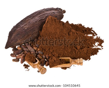 dried fruit of cocoa, cocoa powder and beans with a wooden spoon isolated on white background - stock photo