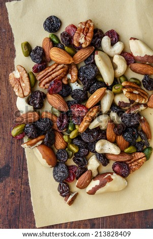 Dried fruits and nuts - stock photo