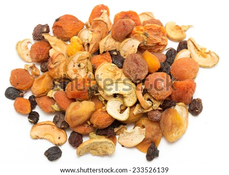 dried fruits, apples, pears, apricots, plums, grapes - stock photo