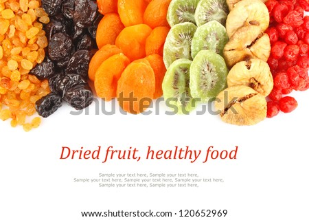 Dried fruits assortment on white background, health food concept & text