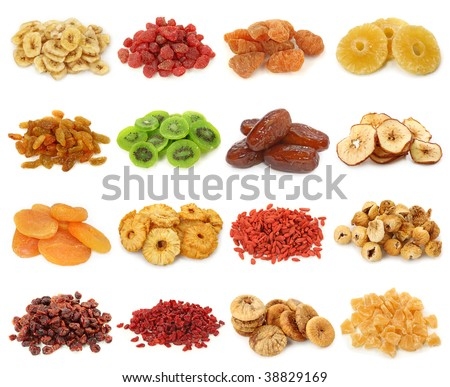 Dried fruits collection-banana, strawberries,peach, pineapple, sultanas,kiwi,dates,apples, apricots, pineapple, goji,iranian figs, cranberries, berberis,figs, pineapple - stock photo