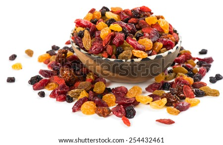 dried fruits from berries isolated on white background - stock photo