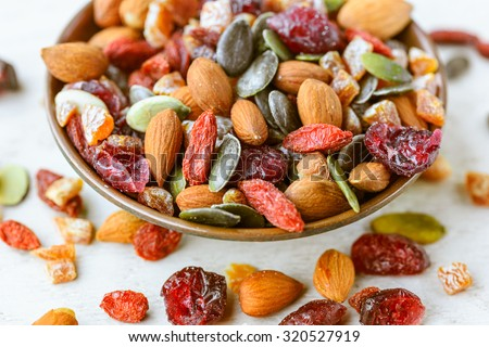 Dried fruits in a bowl - stock photo