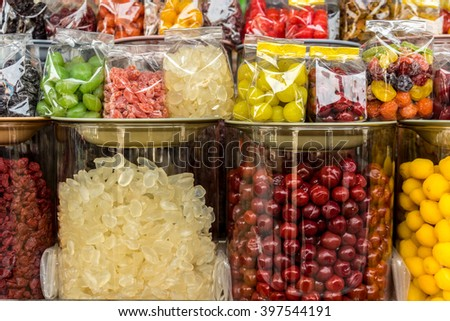 Dried fruits in market north of thailand - stock photo