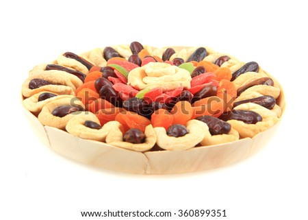 dried fruits isolated on the white background - stock photo