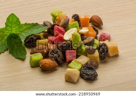 Dried fruits mix on the desk - stock photo