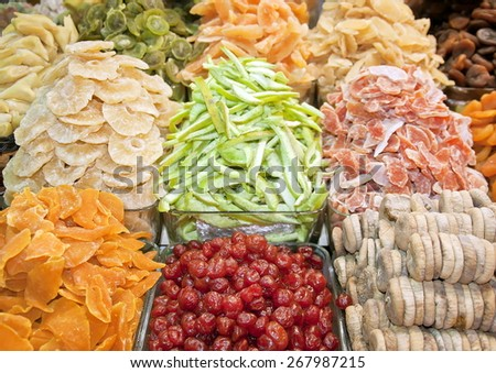 Dried fruits on Spice bazaar, Istanbul - stock photo