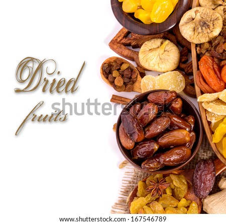 Dried fruits on white background with sample text - stock photo