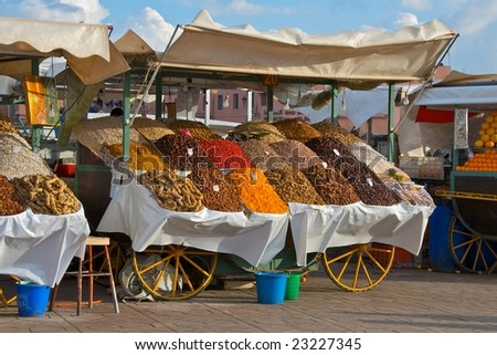 Dried fruits stool in the market square in Marrakesh - stock photo