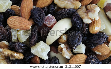 Dried fruits textures - stock photo