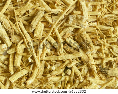 Dried ginseng root - close up, can be used as a background