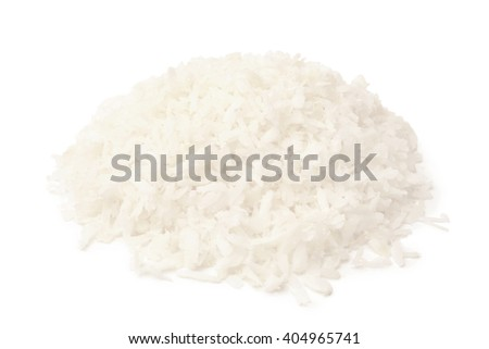 Dried grated coconut on white backgroun - stock photo