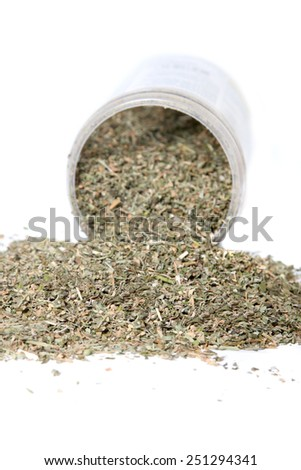 Dried green catnip for cats spilling from container on a white background - stock photo