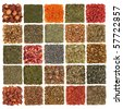 Dried herb, spice, flower and fruit selection used in cooking and medicinal healing, in patchwork design, isolated over white background. - stock photo