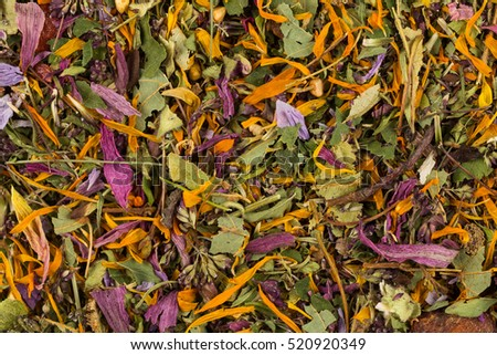 Dried herbal flower tea leaves close up as a background