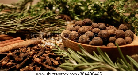 Dried herbs - allspice in a wooden spoon , thyme , rosemary , cloves, cinnamon , sea salt and coriander on the table. - stock photo
