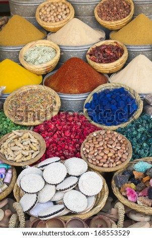 Dried herbs flowers and spices in the shop, Morocco, Africa