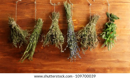 dried herbs, on wooden background - stock photo