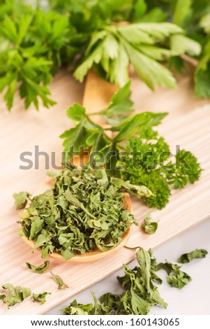 Dried herbs parsley and celery on a wooden spoon on the background of fresh herbs.