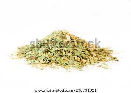 Dried homemade soup mix of squash, beans and cucumber on white - stock photo