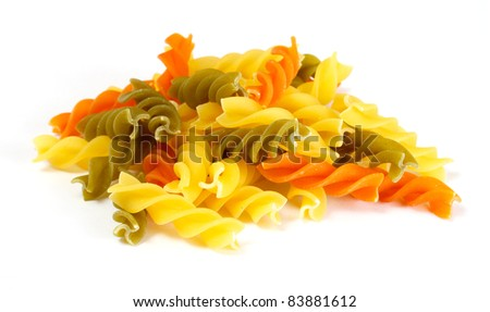 dried italian pasta (macaroni) isolated on white background - stock photo