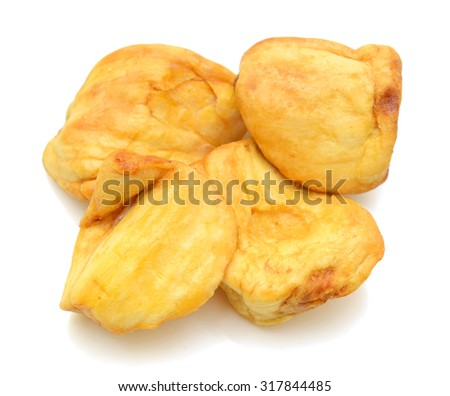 Dried jackfruit slices isolated on white background