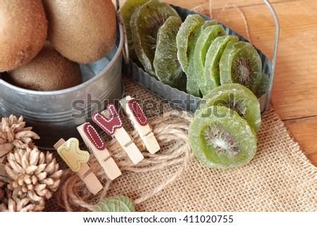 Dried kiwi fruit and fresh kiwi is delicious - stock photo