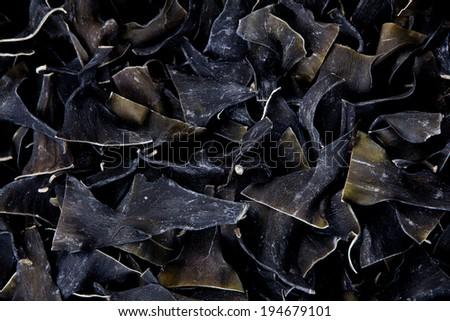 Dried kombu, a type of sea vegetable. - stock photo