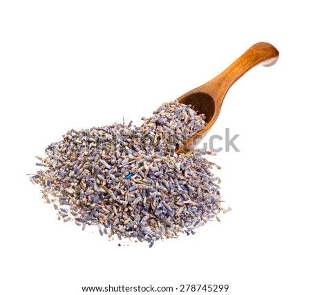 Dried lavender flowers on the wooden spoon. - stock photo