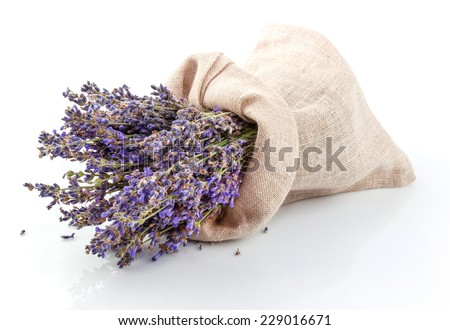 Dried lavender in a sack isolated on white background - stock photo
