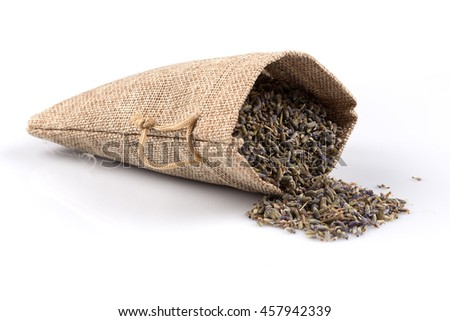 dried lavender organic tea in a sack Isolated on white background - stock photo