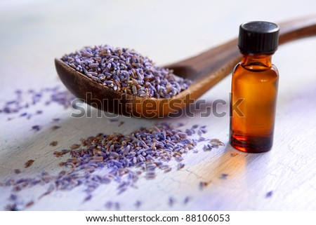 Dried lavender with a bottle of essential oil on a rustic table - stock photo