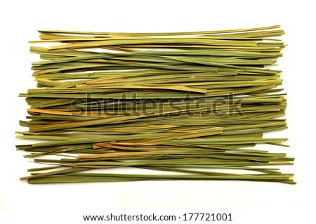 Dried lemon verbena leaves on a white background - stock photo