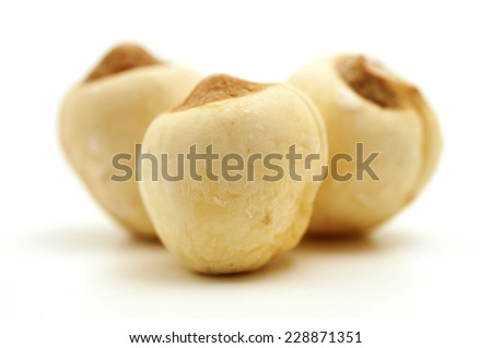 Dried lotus seeds on a white background - stock photo