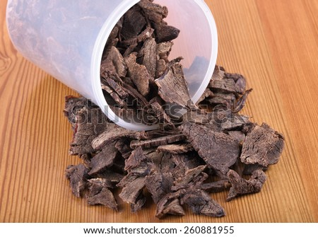 Dried meat (beef) for long-term storage in warm weather - stock photo