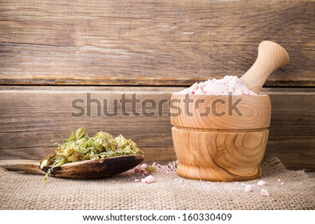 Dried medicinal plants,  herbal tea blend, homeopathic medicine. - stock photo