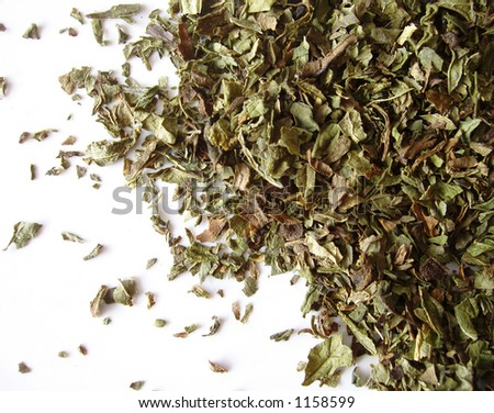 dried mint leaves on white background - stock photo
