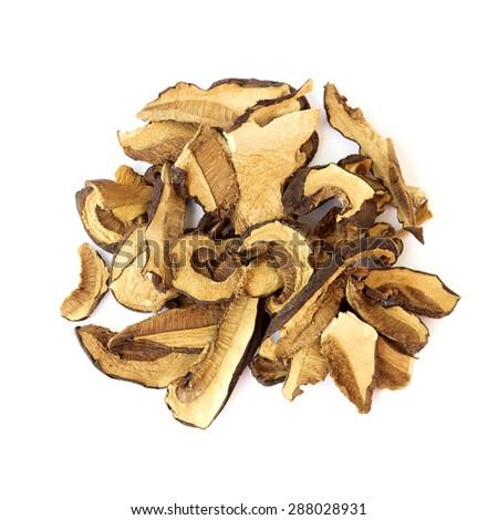 Dried mushrooms on white background - stock photo