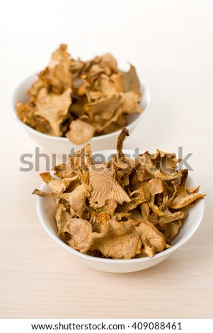 Dried mushrooms  simple food composition    - stock photo