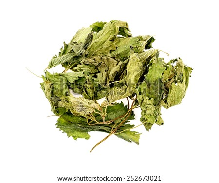 Dried nettle tea leaves isolated on white - stock photo