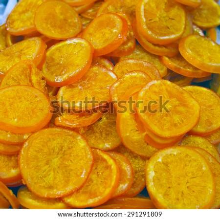 Dried oranges at spanish market - stock photo