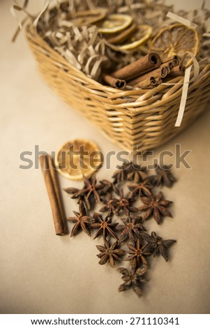 dried oranges with cinnamon and anise - stock photo