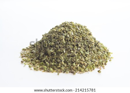 Dried oregano leaves on a white background  - stock photo