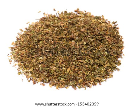 Dried oregano pile isolated on white - stock photo
