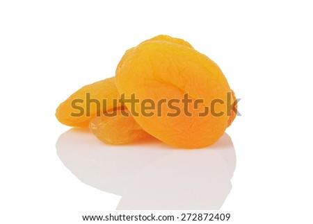 dried organic apricots isolated - stock photo