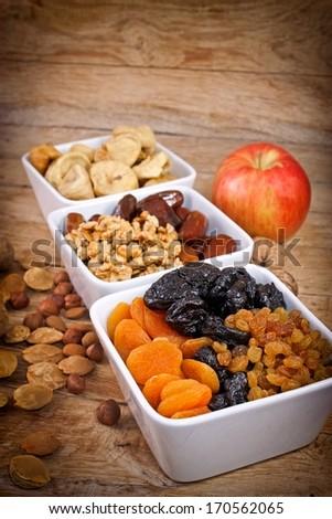 Dried organic fruits - stock photo